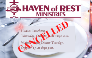 2020 Fall Luncheon and Dinner Cancelled